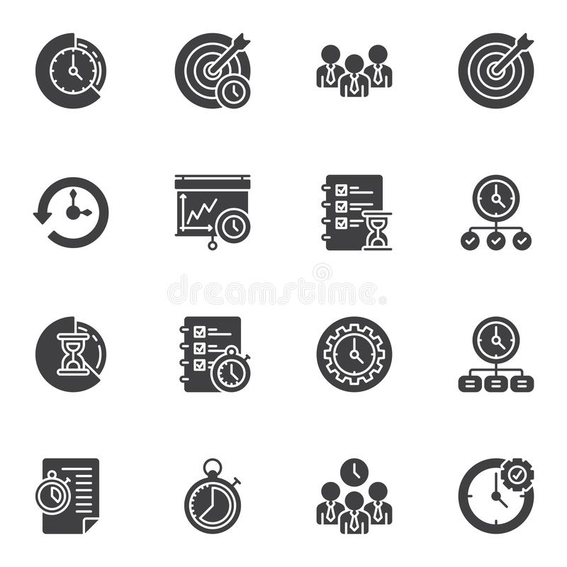 Time management vector icons set stock illustration