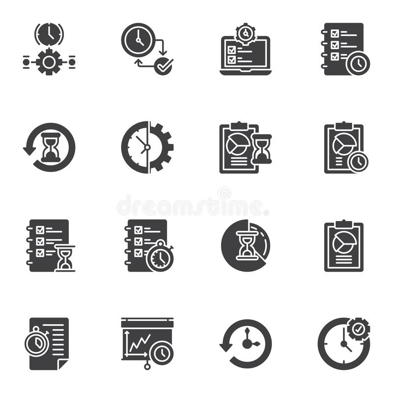Time management vector icons set royalty free illustration