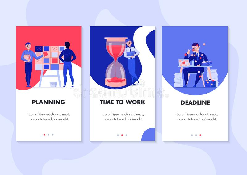 Time Management Vertical Banners vector illustration