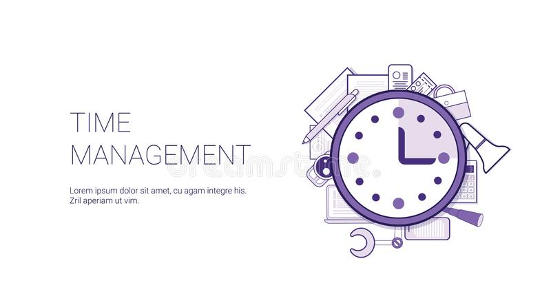 Time Management Web Banner With Copy Space Business Scheduling Concept. Vector Illustration stock illustration