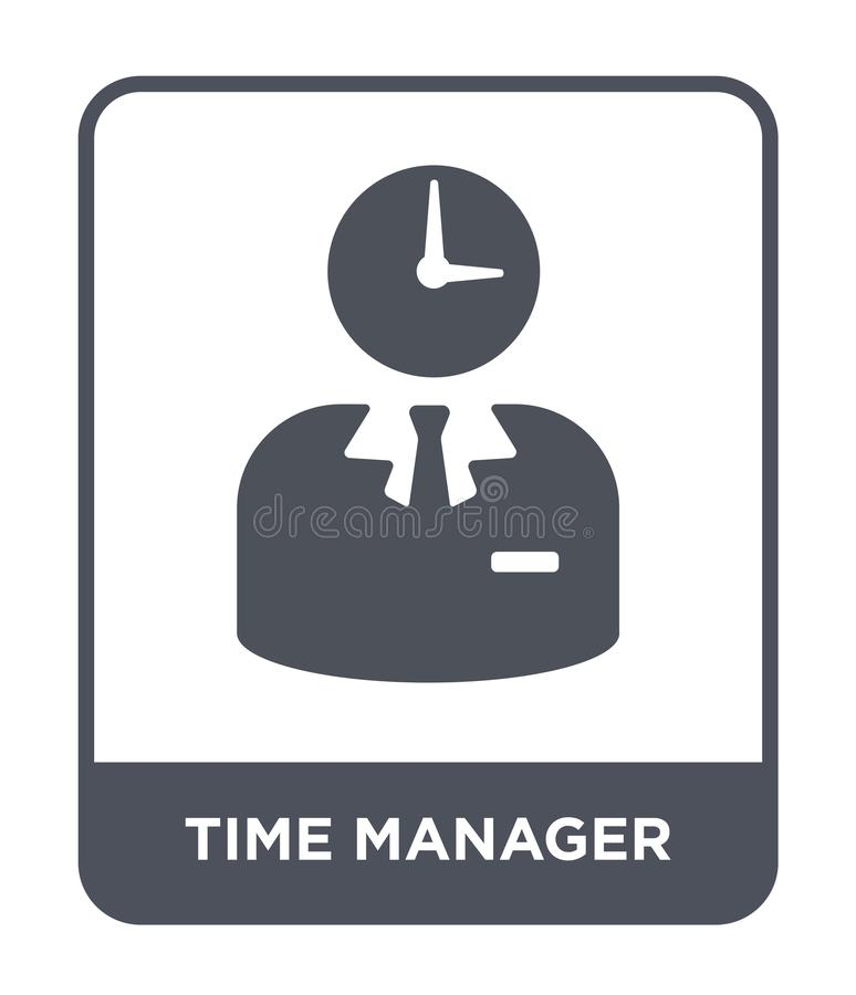 Time manager icon in trendy design style. time manager icon isolated on white background. time manager vector icon simple and. Modern flat symbol for web site stock illustration