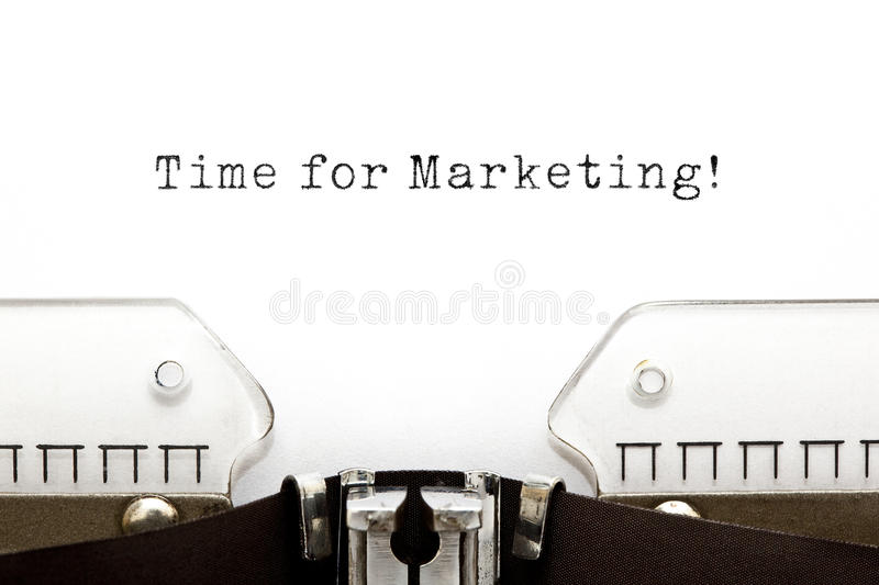 Time for Marketing Typewriter. Time For Marketing printed on an old typewriter royalty free stock photography