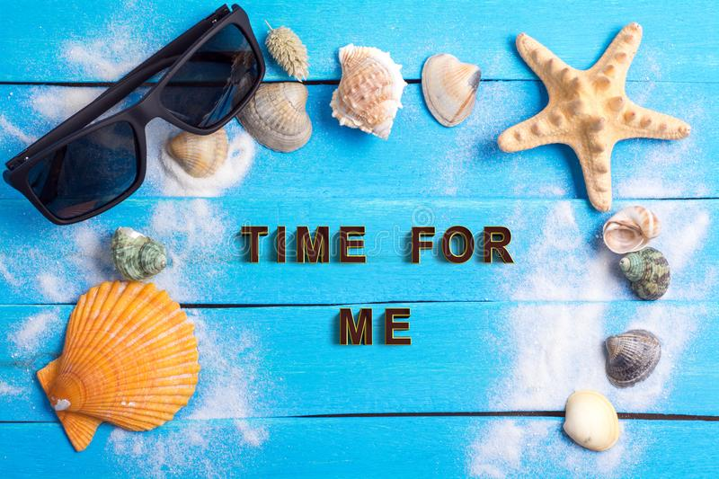 Time for me with summer settings concept stock photos