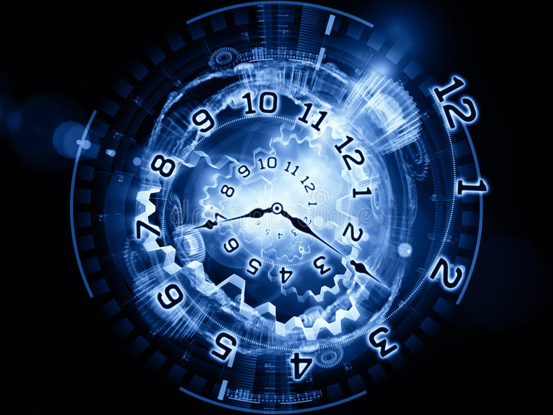 Time mechanism. Interplay of clock hands, gears, lights and numbers on the subject of time sensitive issues, deadlines, scheduling, temporal computational vector illustration