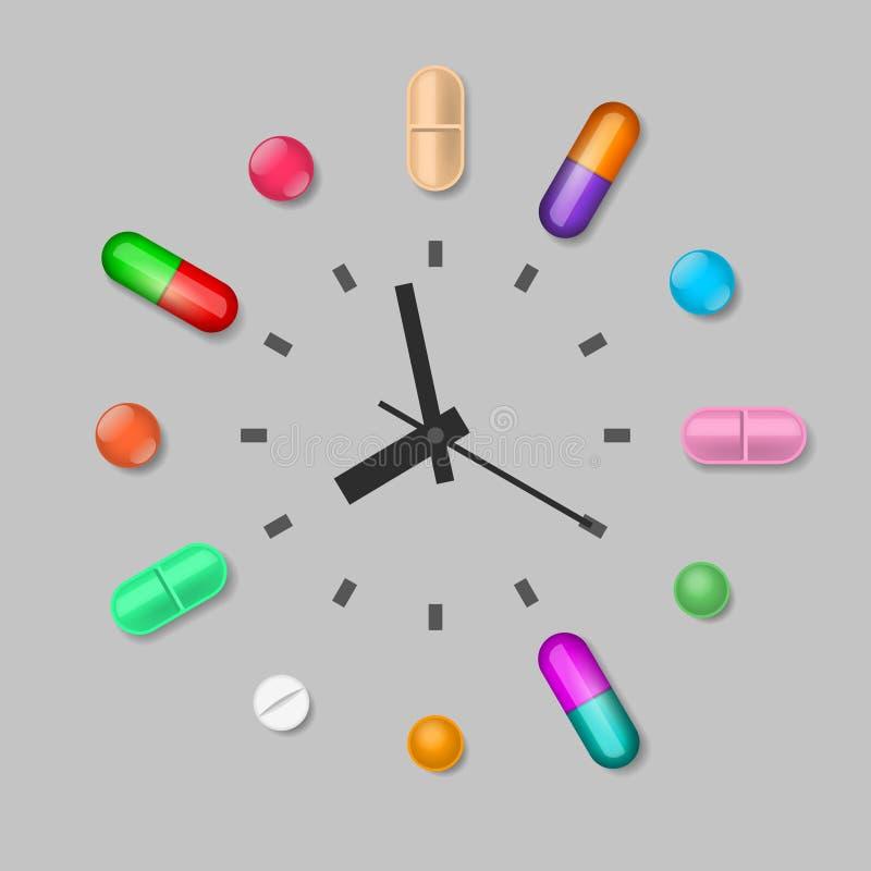 Time of medicines intake vector illustration