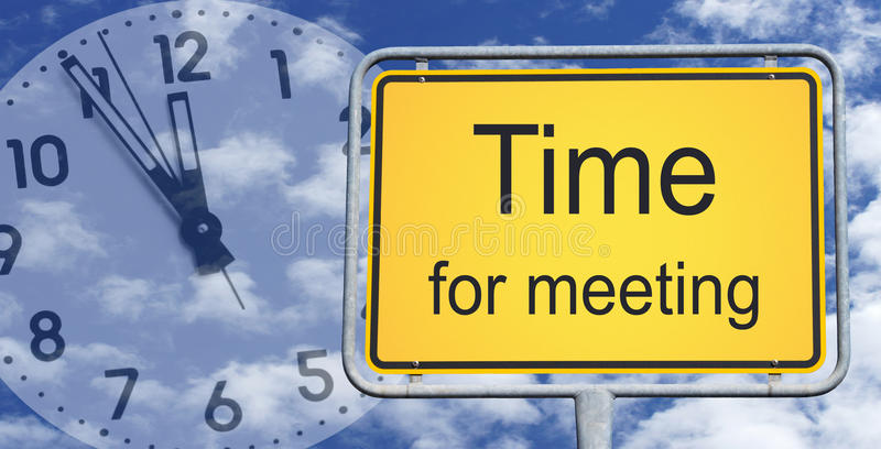 Download Time For Meeting Sign And Clock Stock Photo - Image of seconds, minutes: 28214374