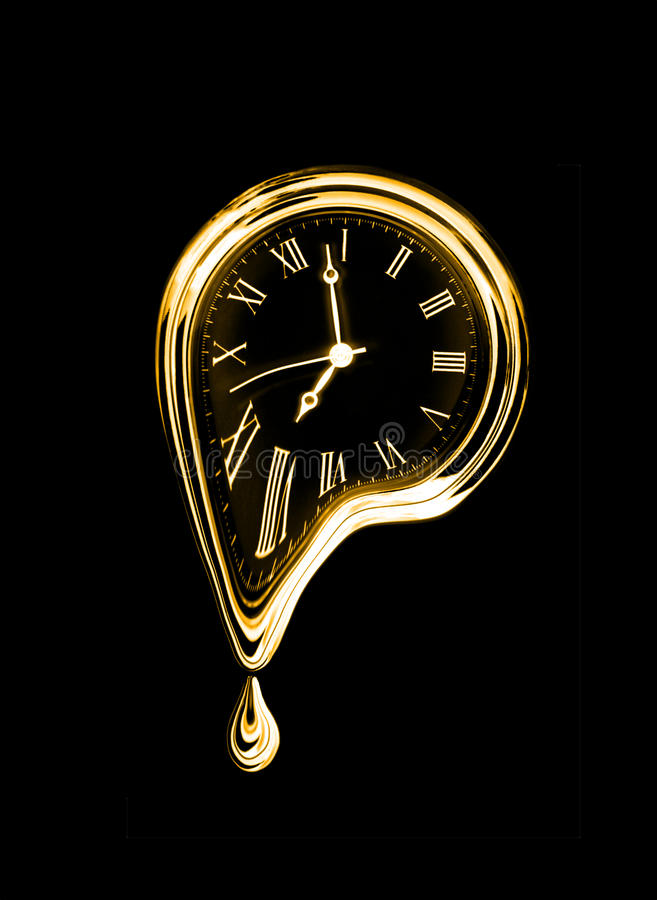 The time melting.. Surreal style image. Isolated on black. The time melting.Gold. Surreal style image. Isolated on black stock image