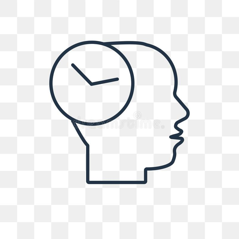 Time mind vector icon isolated on transparent background, linear. Time mind vector outline icon isolated on transparent background, high quality linear Time mind stock illustration