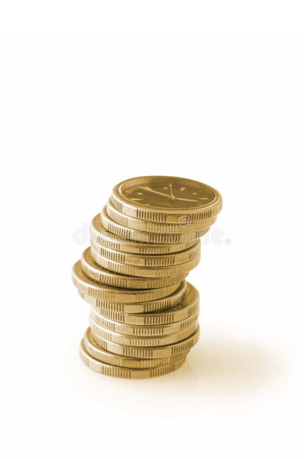 Time is Money. Gold coins with clockface on top. Business concepts include , save time, time saver no time to waste stock photos