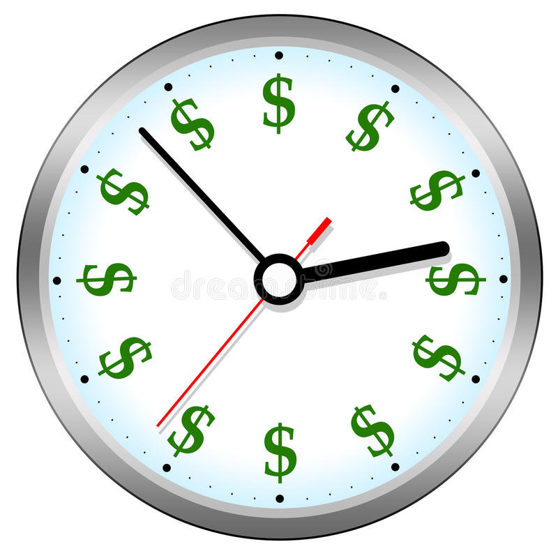 Time is money. Concept with ticking clock and dollar signs stock illustration