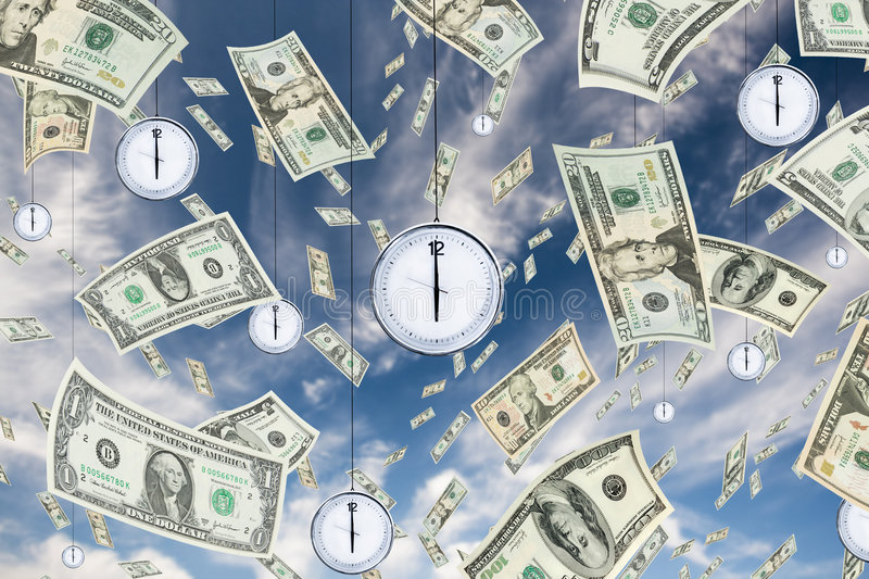 Time is money. Conceptual shot about time and money with dollar banknotes falling from the sky and clocks hanging from the sky stock illustration