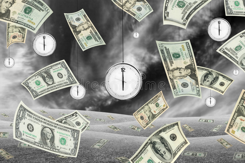 Time is money. Conceptual shot about time and money with dollar banknotes falling from the sky and clocks hanging from the sky. Black and white vector illustration