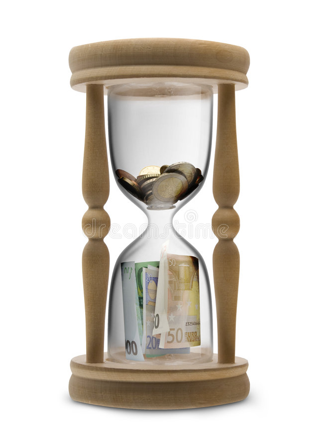 Time is money. (Time management) - sandglass filled Euro money royalty free stock photo