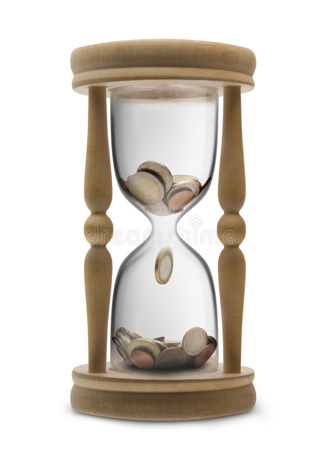Time is money. (Time management) - sandglass filled Euro money stock images