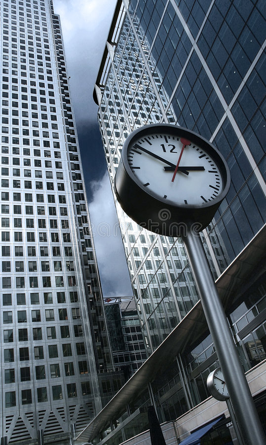 Time is money. Modern architecture and office buildings stock image