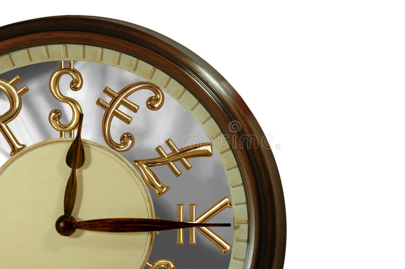 Time is Money!. A clock with golden international currency signs as numbers stock photo