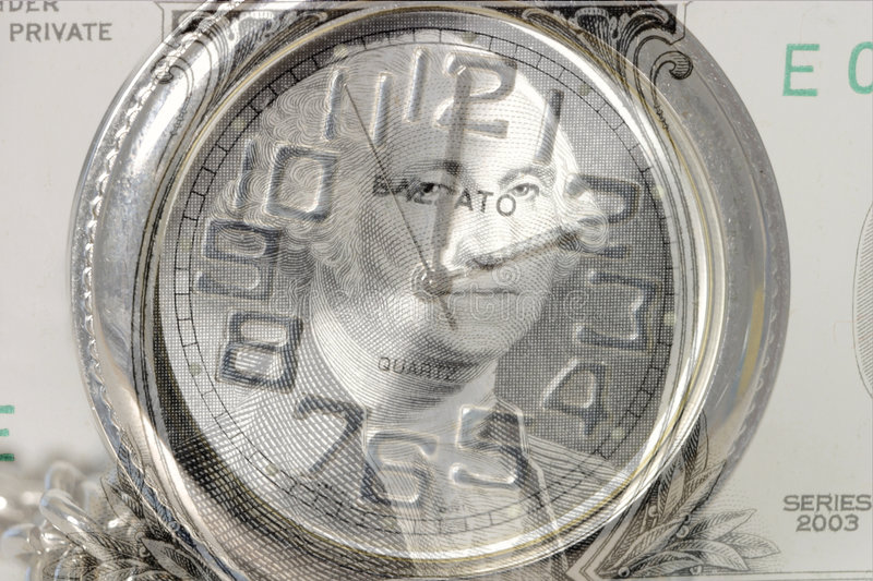 Time is money 7445. Time is money. A composite image with George Washingtons face on a $1 bill layered over a silver pocket watch. zyTime/finance Concept royalty free stock photography