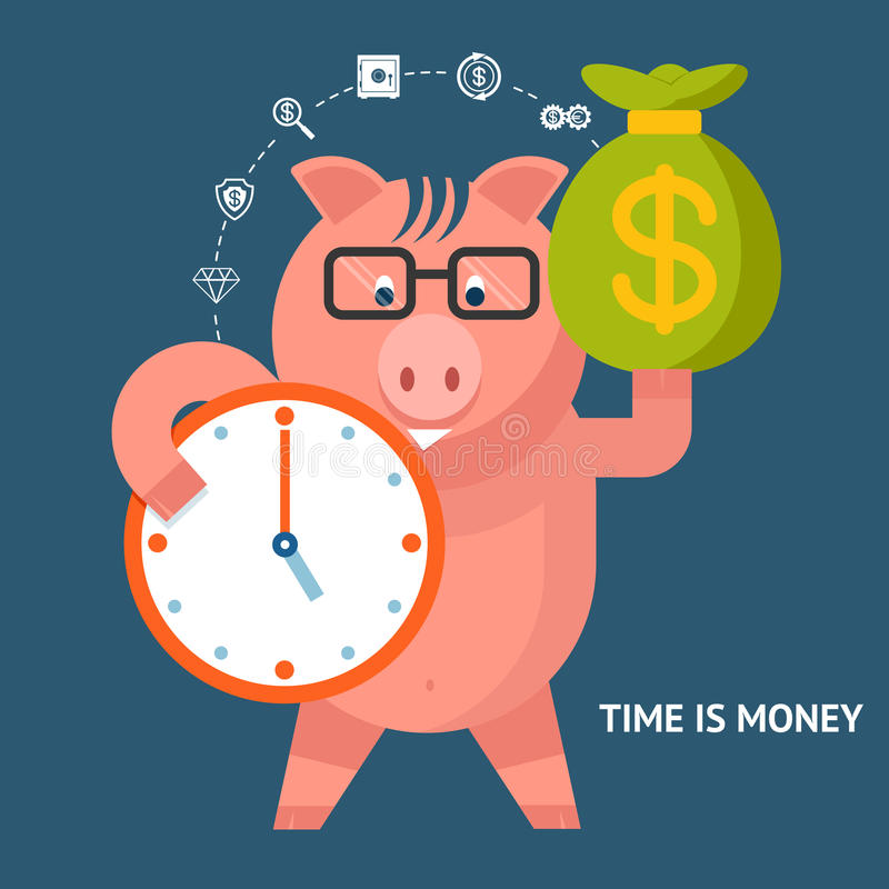 Time Is Money - banking pig. Time Is Money concept with a cute pink piggy bank holding a clock and money bag with various financial icons linking the two stock illustration