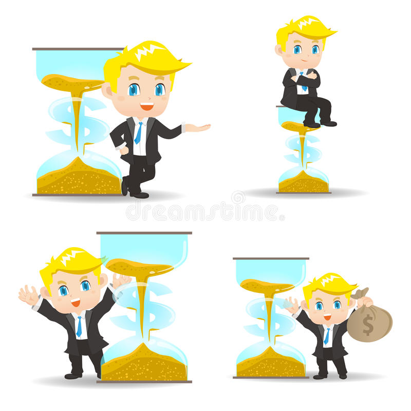 Time is money. Cartoon illustration set of Business man with money and sand glass stock illustration