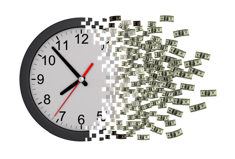 Time Is Money. Clock Falling Apart To Dollars. vector illustration