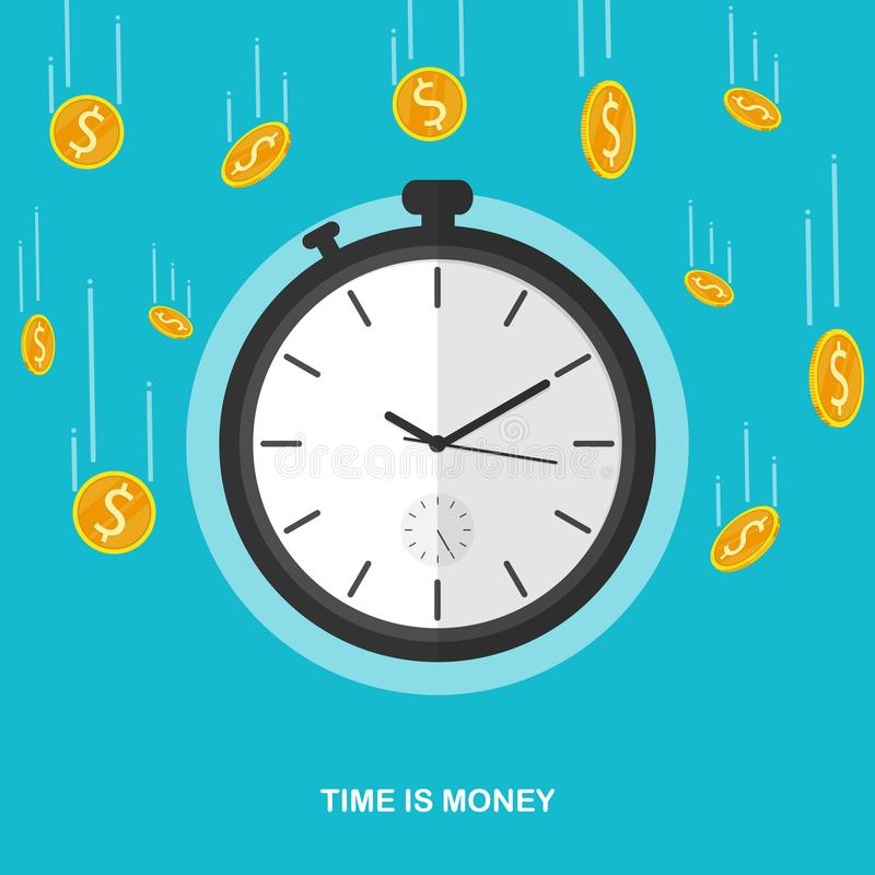 Time is money coin falling stopwatch flat vector royalty free illustration
