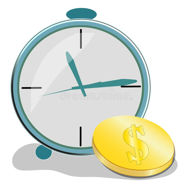 Time is money concept, clock and coin, long term financial investment, future income, money profit and benefit, vector stock illustration