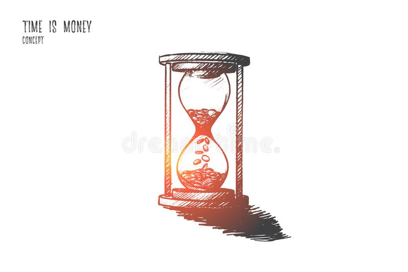 Time is money concept. Hand drawn isolated vector. vector illustration