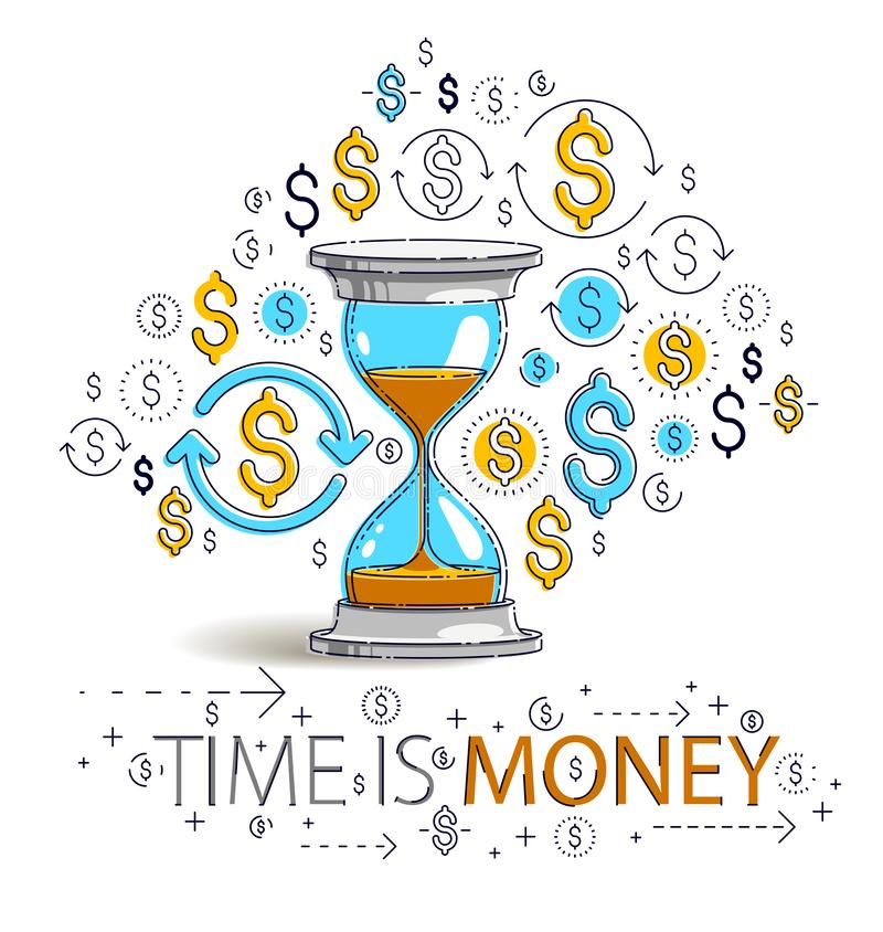 Time is money concept, hourglass and dollar icons set, sand watch timer deadline allegory. Time is money concept, hourglass and dollar icons set, sand watch royalty free illustration