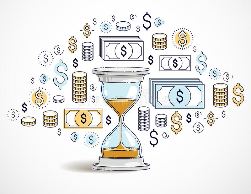 Time is money concept, hourglass and dollar icons set. Time is money concept, hourglass and dollar icons set, sand watch timer deadline allegory, vector design stock illustration