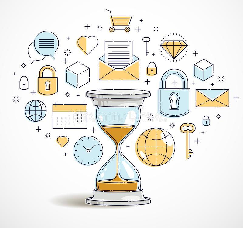 Time is money concept, hourglass icons set, sand watch timer deadline allegory. Vector design stock illustration