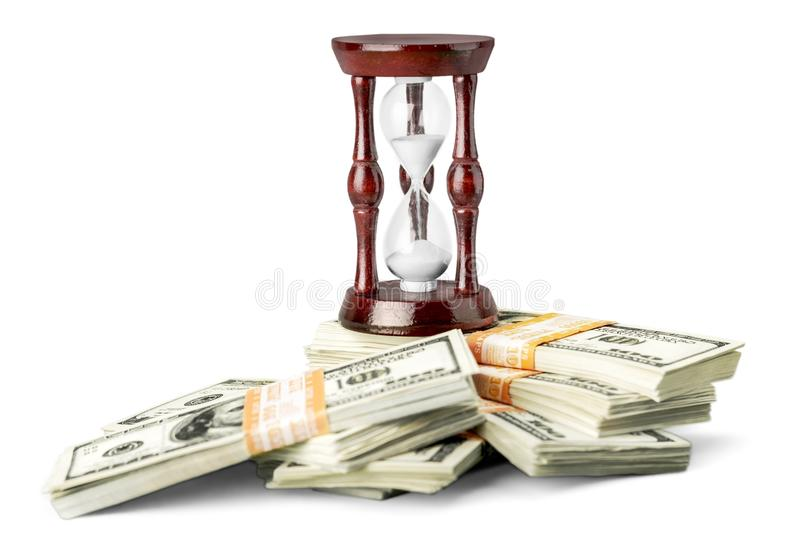 Time And Money Concept image - sand watch and royalty free stock images
