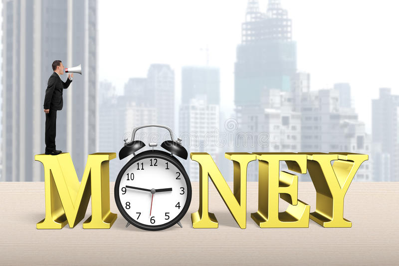 Time is money concept. Man using megaphone shouting on golden money word with alarm clock stock photography