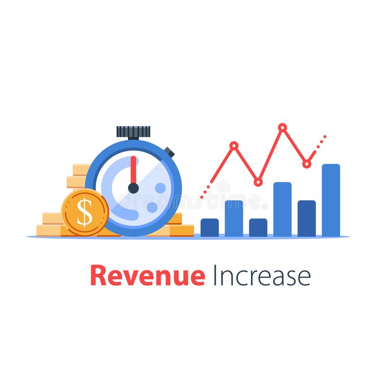 Stopwatch and portfolio performance graph, revenue increase chart, business growth, return on investment royalty free illustration