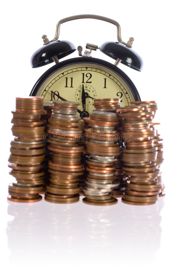 Time is money, concept with uk coins. Time is money concept photo, uk coins against retro alarm-clock stock images