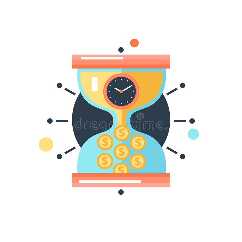 Time Money Conceptual Metaphor Illustration Icon. Time is money conceptual metaphor hourglass with clockcnverting trickling sand in coins abstract ector royalty free illustration