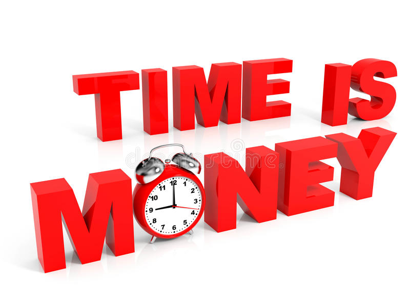 Time is money. 3D text with clock stock illustration