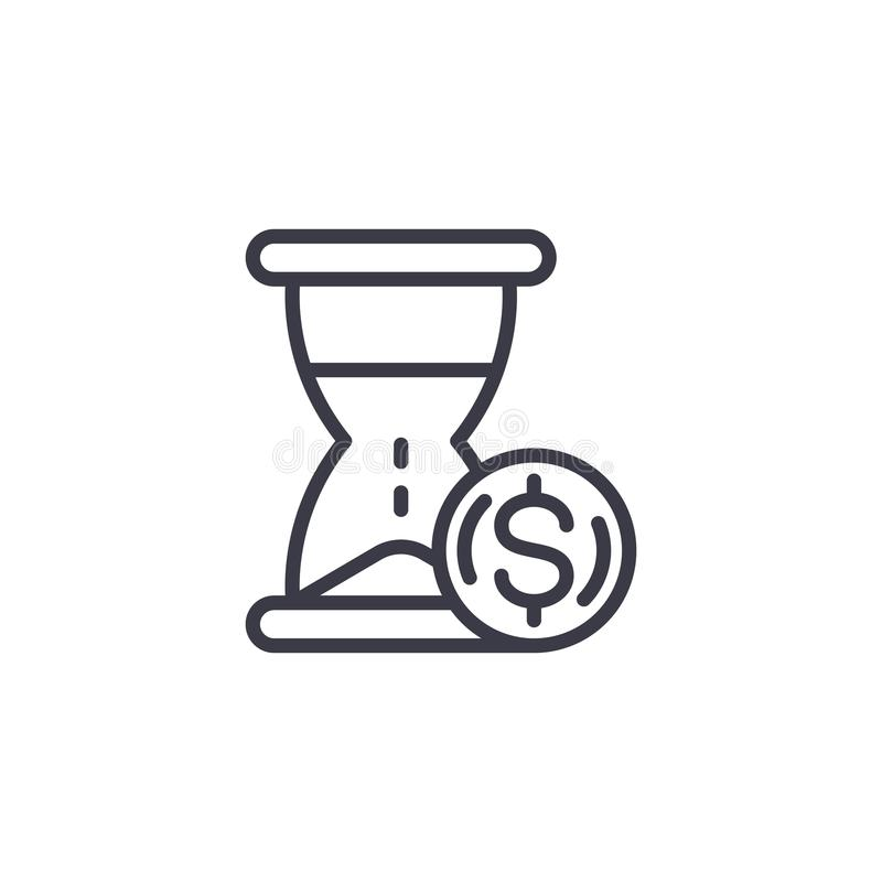 Time is money decision linear icon concept. Time is money decision line vector sign, symbol, illustration. stock illustration