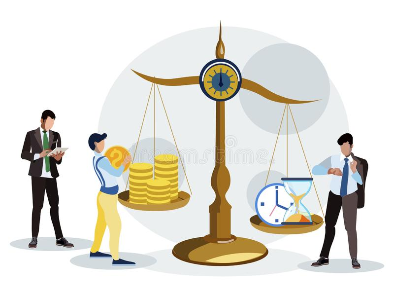 Time is money. Estimation of the working hours. In minimalist style. Cartoon flat vector stock image