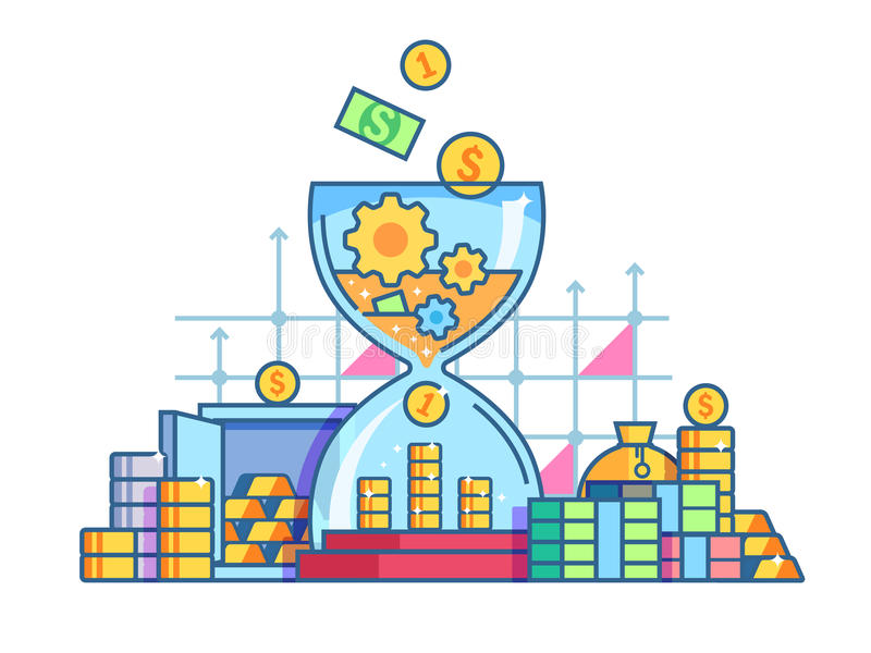 Time is money flat concept. Capitalization and earnings finances. Vector illustration royalty free illustration
