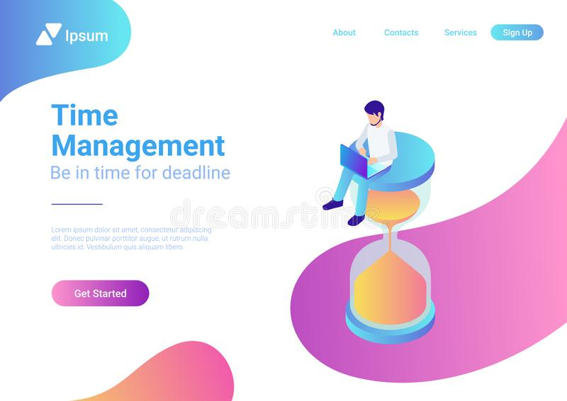 Time is money flat 3d web isometric infographic bu vector illustration