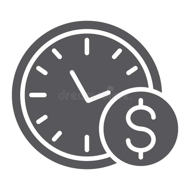 Time is money glyph icon, hour and finance, clock and dollar sign, vector graphics, a solid pattern on a white vector illustration