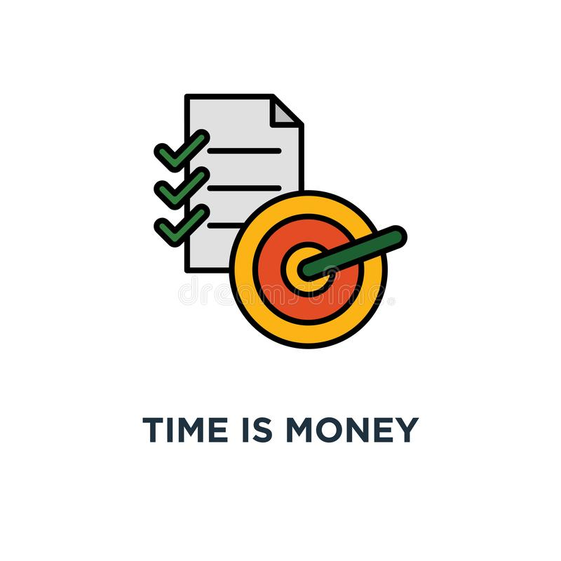 time is money icon. mutual fund, project management, financial summary, brief report concept symbol design, term and conditions, stock illustration