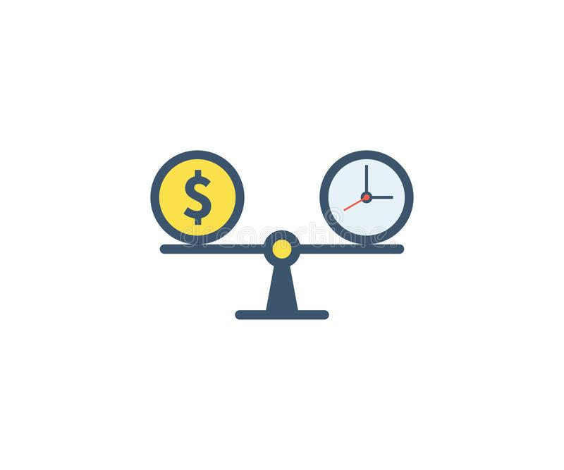 Time is money icon. Vector illustration in flat minimalist style.  royalty free illustration