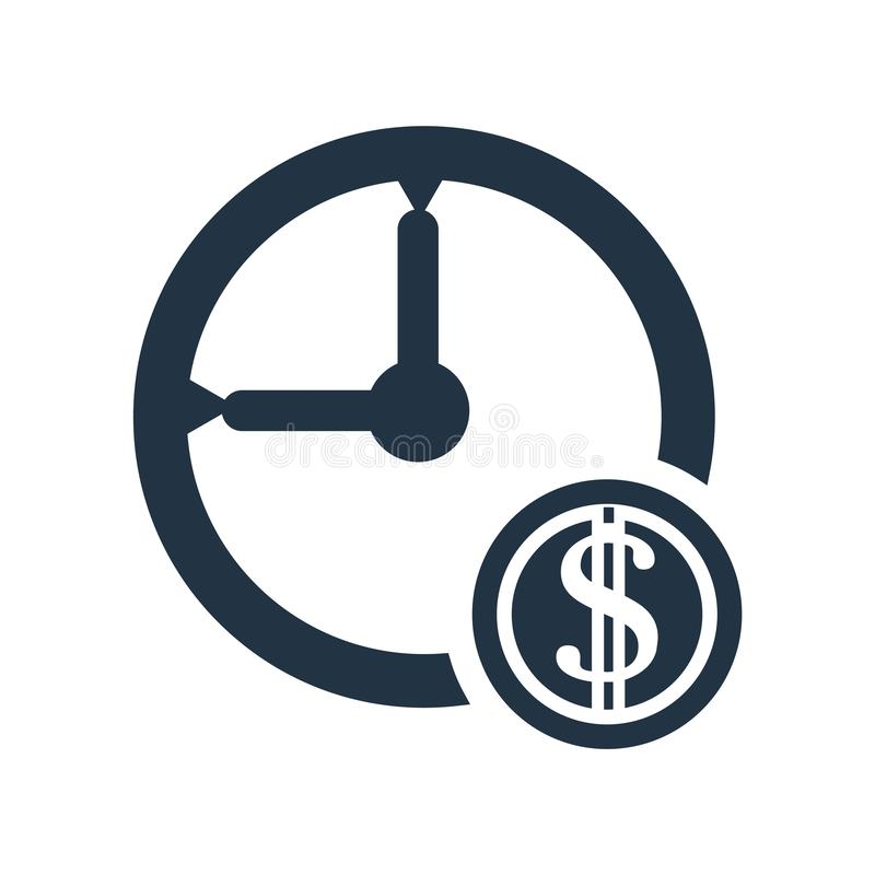Time is money icon vector isolated on white background, Time is money sign. Time is money icon vector isolated on white background, Time is money transparent stock illustration
