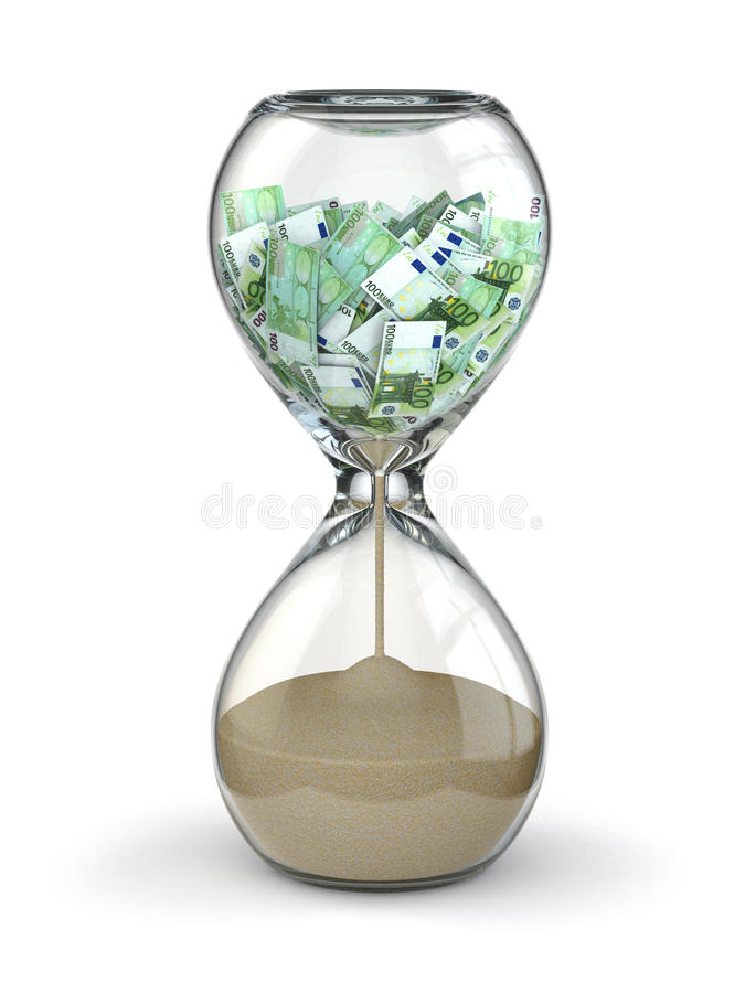 Time is money. Inflation. Hourglass and euro. 3d vector illustration
