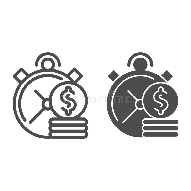 Time is money line and glyph icon. Clock and coins vector illustration isolated on white. Investment time outline style. Design, designed for web and app. Eps royalty free illustration