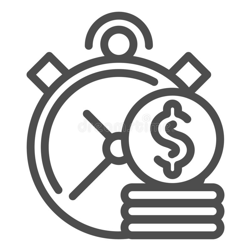 Time is money line icon. Clock and coins vector illustration isolated on white. Investment time outline style design. Designed for web and app. Eps 10 stock illustration