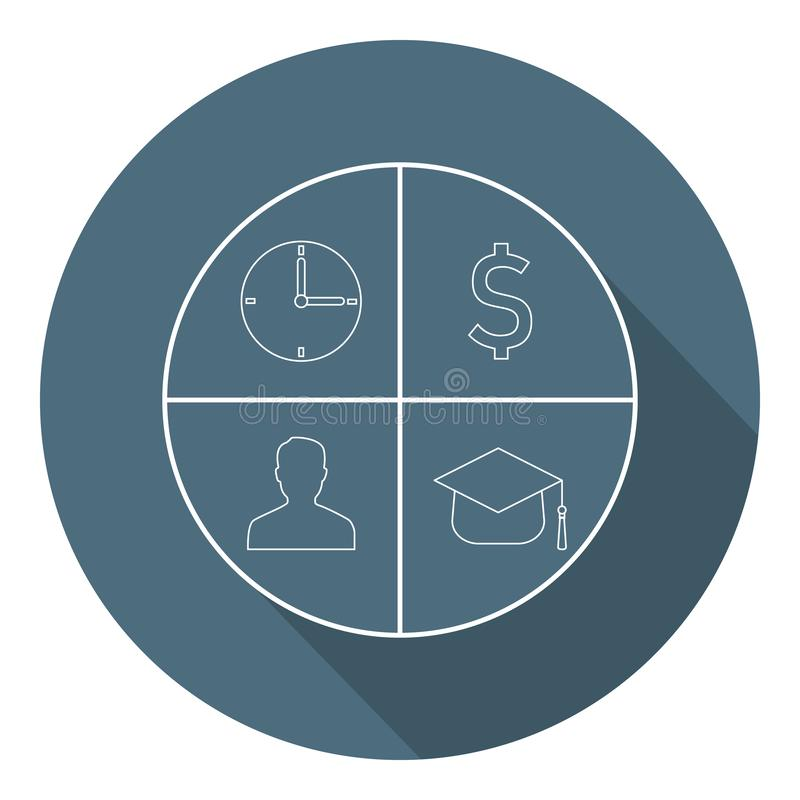 Time, Money, Man, Knowledge Icons in Circle. Concept d'entreprise. Style plat. Illustration vectorielle pour votre conception, Web illustration stock
