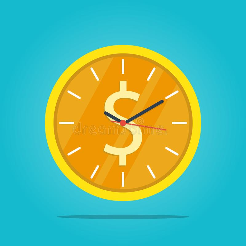 Time is money,time management business clock gold coin vector. Time is money business clock gold coin vector stock illustration