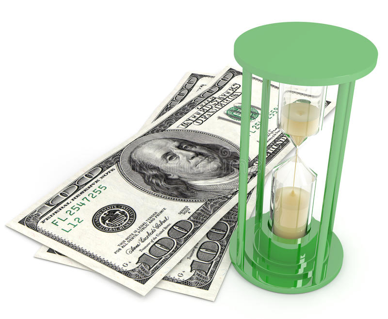 Time is money sand glasses and dollars stock images